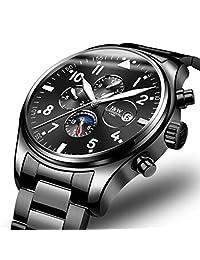Business Luxury Automatic Mechanical Luminous Date Moon Phase Stainless Steel Waterproof Men Watch (Black)