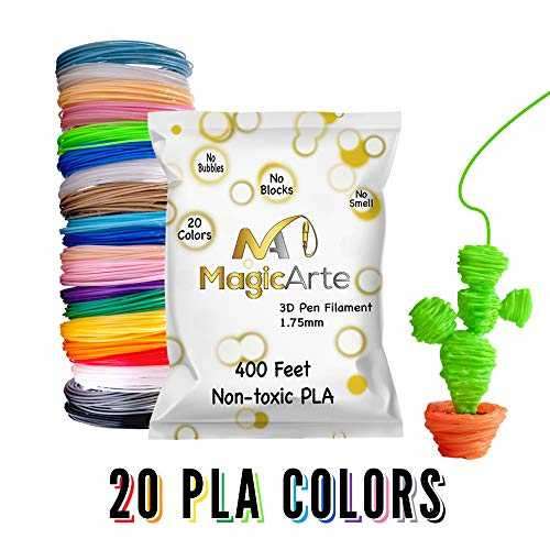 MagicArte 3D Pen/Printer Filament Refills| Create Drawings for Adults and Kids|20 Colors, 400 Feet|2 Fluorescent|4 Glow in The Dark| 1.75mm Non-Toxic PLA (Does not fit 3Doodler) Tecboss Nulaxy