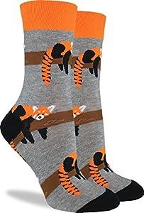Good Luck Sock Women's Red Panda Crew Socks - Grey, Adult Shoe Size 5-9