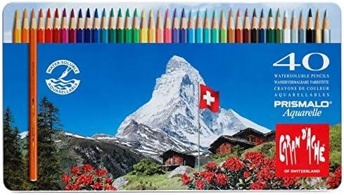 Caran d'Ache Prismalo Crayons de couleur aquarelle Assortiment de couleurs Lot de 40