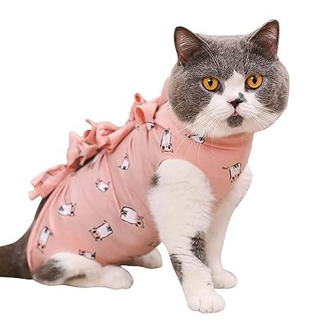 TEEPAO Traje de recuperación para Gatos, Ropa de algodón ...