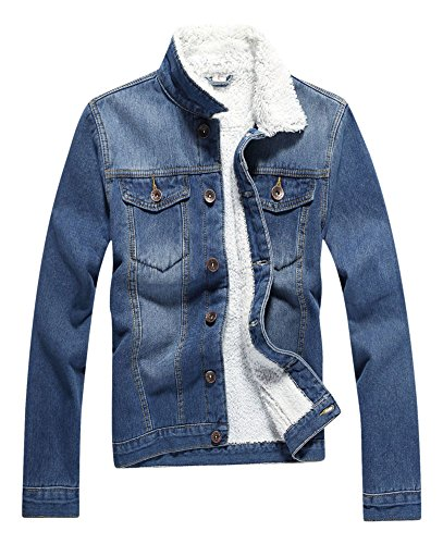 Sherpa Collar (Plaid&Plain Men's Fleece Lined Borg Collar The Sherpa Trucker Jacket Jean Denim Jacket 810# Blue L)
