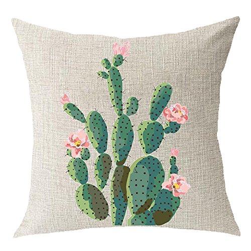 Cotton Linen Green plants Succulents Cactus Prickly Pear Square Throw Waist Pillow Case Decorative Cushion Cover Pillowcase Sofa 18x 18 (3)