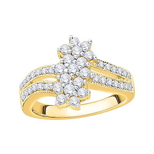 - KATARINA Milgrain Shank Cluster Diamond Floral Ring in 10K Yellow Gold (3/4 cttw, J-K, SI2-I1) (Size-5)