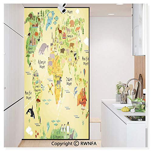 Non-Adhesive Privacy Window Film Door Sticker Educational World Map Africa America Penguins Atlantic Pacific Ocean Animals Australia Panda Glass Film 23.6 in. by 78.7in. (60cm by 200cm),