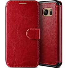 Galaxy S7 Edge Case, (Savant - Cardinal Red) (Wallet Card Storage) Premium PU Leather Wallet (Slim Portfolio Card Slots) Flip Diary Cover for Samsung Galaxy S7 Edge 2016 by Lumion