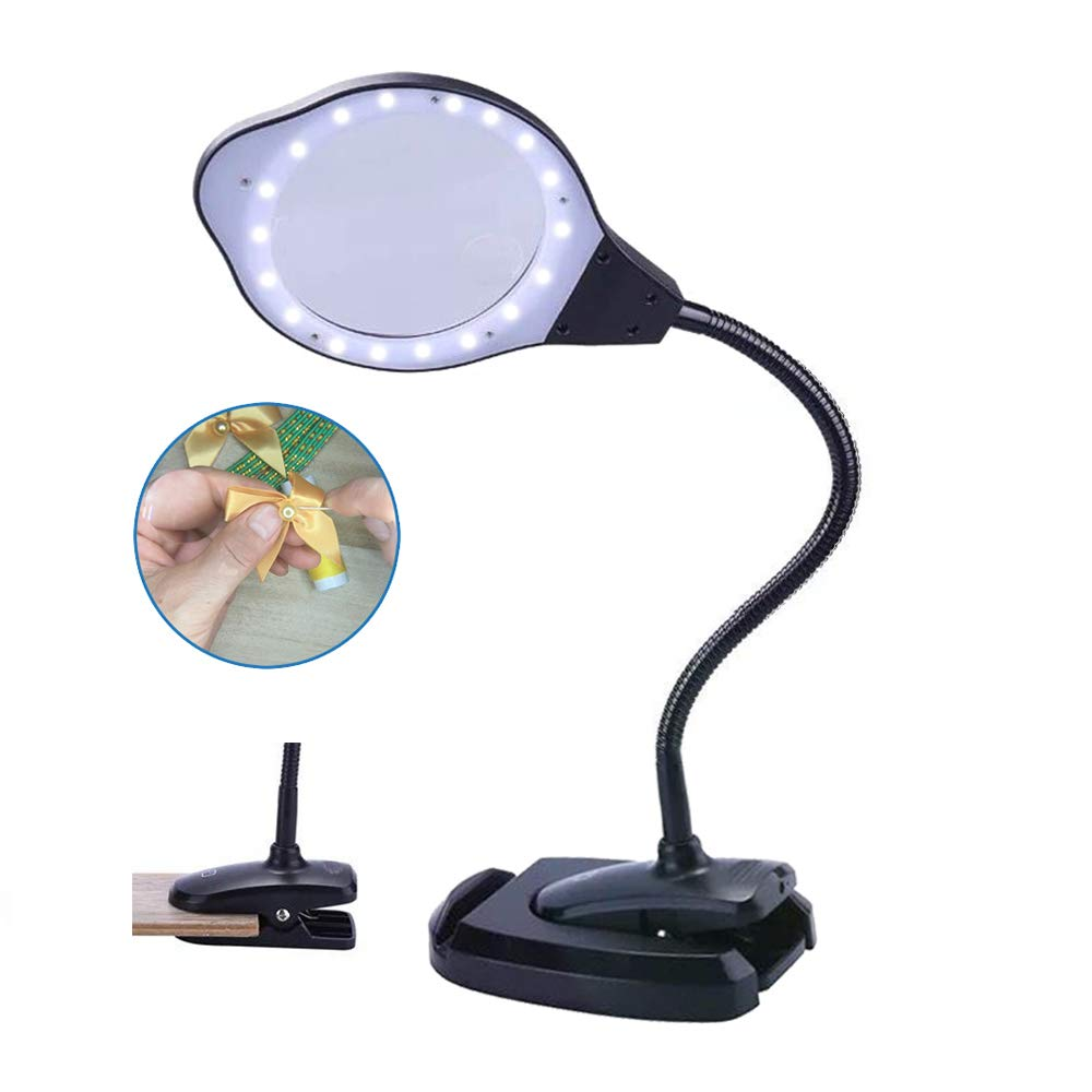 LED Magnifying Glass Lamp with Light and Stand Large Desk Clamp Magnifier Clip-on 2X 4X for Crafts,Sewing,Repair,3-Level Brightness,USB Power Supply,Touch Sensor