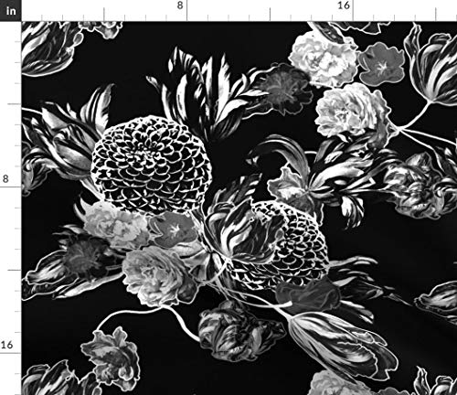 Floral Fabric - Vintage Home Decor Uphlstery Floral Flowers Chintz 50 S Black and White Retro Print on Fabric by The Yard - Sport Lycra for Swimwear Performance Leggings Apparel Fashion ()