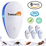 Tomu Ultrasonic Pest Repeller for Bugs and Insects, Mice Repellent to Repel and Prevent Mouse, Ant, Mosquito, Spider, Rodent, Roach,Child and Pets Safe Control(6 Packs)
