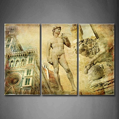 First Wall Art - 3 Panel Wall Art Brown Beautiful Florence Artistic Collage Lion People House In Usa Painting Pictures Print On Canvas Architecture The Picture For Home Modern Decoration piece (Stretched By Wooden Frame,Ready To Hang) by Firstwallart