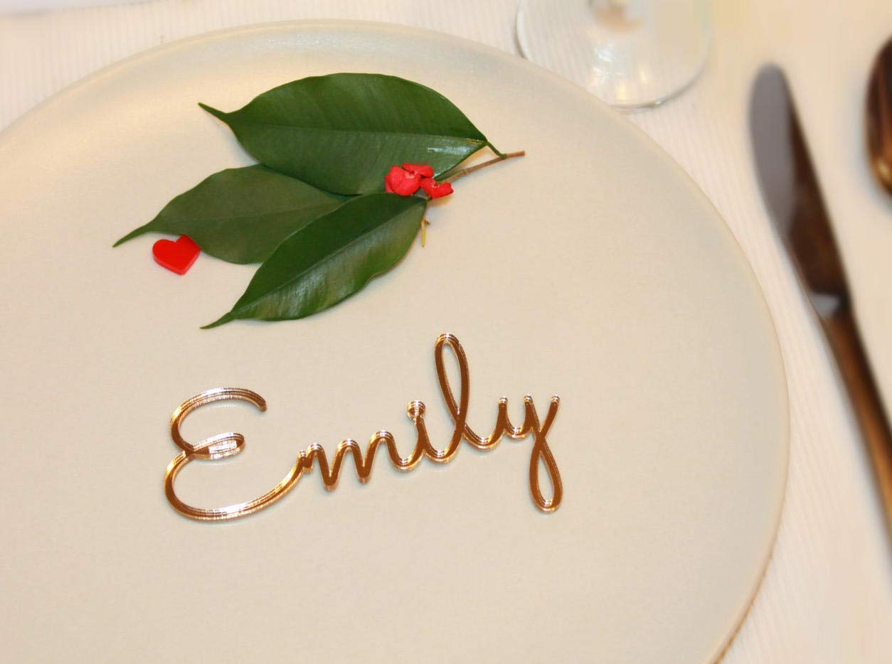 Personalized Gold Wedding Acrylic Place Cards Place Name Settings Guest Names Wooden Laser Cut Table Names Cutouts for Formal Wedding Invitation Escort Cards Wood Bride Groom Party Shower Event Decor