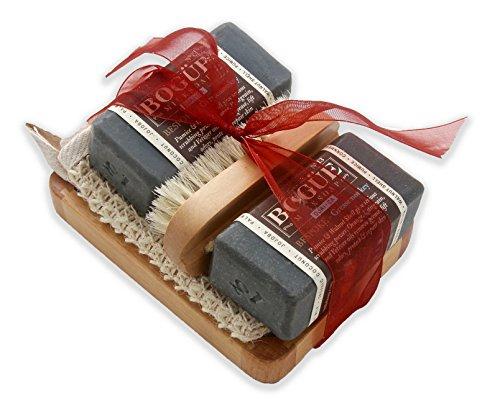 BOGUE Goat Milk Soap-BESPOKE N°13 GreaseMonkey X2 GiftSet- 3 Aggregates Exfoliate, Remove Grease & Smells, Oils of Orange, Petigrain & Vetiver Heal Cuts & Abrasions. Sisal Cloth, Nail Scrubber & Tray