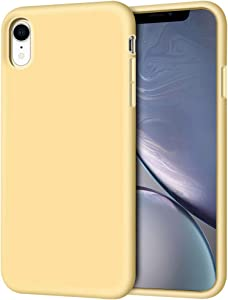 """iPhone XR Case, Anuck Soft Silicone Gel Rubber Bumper Phone Case with Anti-Scratch Microfiber Lining Hard Shell Shockproof Full-Body Protective Case Cover for Apple iPhone XR 6.1"""" 2018 - Yellow"""