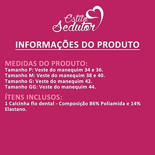 ac26b6f80 Calcinha Fio Dental de Renda Transparente Rosa - DR203  Amazon.com.br   Amazon Moda