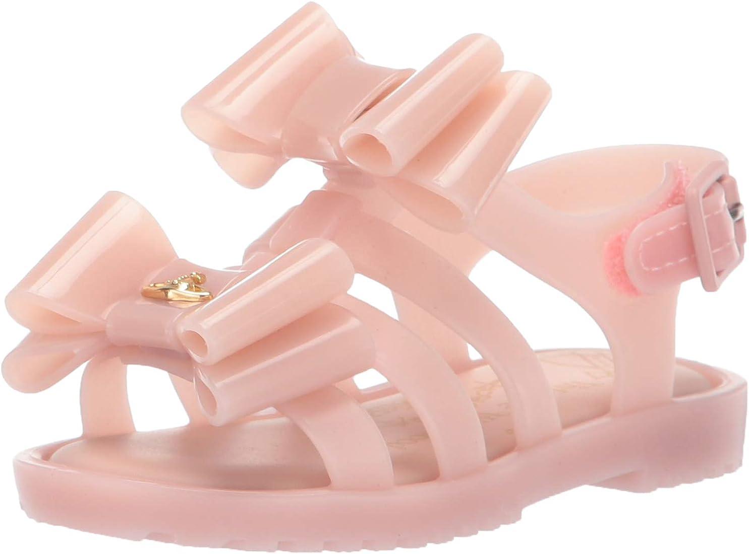 mini melissa Girls' VWA + Mini Flox Slipper, LT Pink, 5 Medium US Toddler