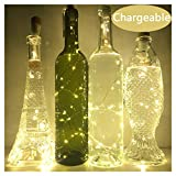 NeoJoy Wine Cork Lights, Rechargeable Bottle Fairy String Lights with 15 LED for DIY Artificial Parties Centerpiece Bedroom Decoration Gift (Warm White, 4PCS)