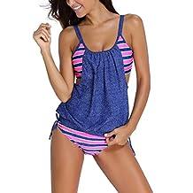 Papaya Wear Womens Stripes Lined Double Up Tankini Two Piece Swimwear Set