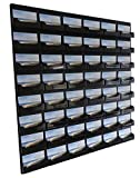 Source One 48 Pocket Wall Mount Business Card Holder Rack, Black Acrylic (BC-WM-48P-BLACK)