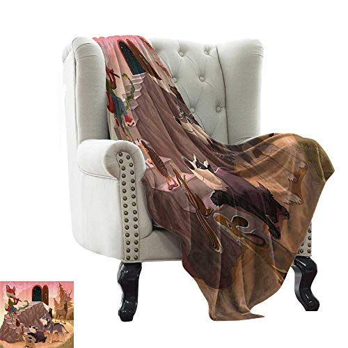 RenteriaDecor Animal,Printed Throw Blanket Fairytale Theme a Fox is Playing The Flute Deer Snake Beer Wolf and Squirrel Print 90