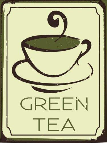 Green Tea Metal Sign, Soothing Hot Drink, Healthy Lifestyle, Contemporary Coffee Shop, Cafe Decor -  Original Metal Sign Co., 20236