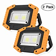 #LightningDeal OTYTY 2 COB 30W 1500LM LED Work Light, Rechargeable Portable Waterproof LED Flood Lights for Outdoor Camping Hiking Emergency Car Repairing and Job Site Lighting