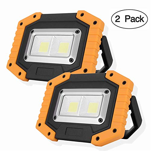 OTYTY 2 COB 30W 1500LM LED Work Light, Rechargeable Portable Waterproof LED Flood Lights for Outdoor Camping Hiking Emergency Car Repairing and Job Site Lighting (2 Pack) (Best Led Work Light)