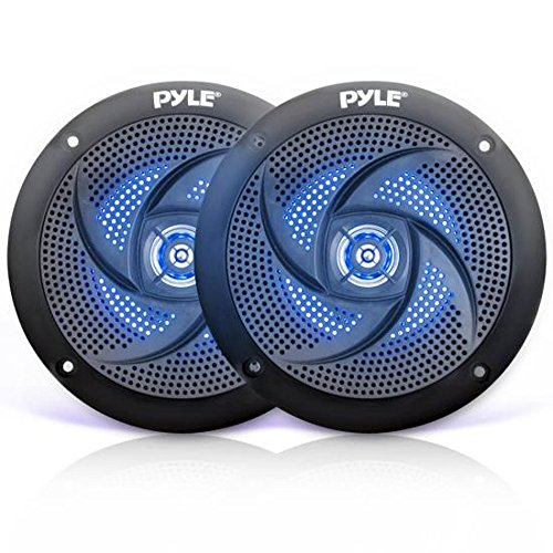(Low-Profile Waterproof Marine Speakers - 100W 4 Inch 2 Way 1 Pair Slim Style Waterproof Weather Resistant Outdoor Audio Stereo Sound System w/Blue Illuminating LED Lights - Pyle)