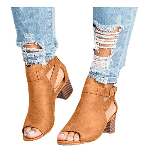 Women's Ankle Strap Buckle Mid Wedge Platform Heeled Sandals 6.5CM Summer Dress Sandals Pump Shoes (Brown -1, US:8.5)