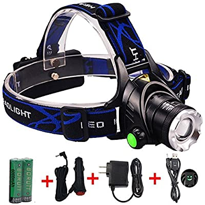 Waterproof LED Headlamp with Zoomable 3 modes 1200 Lumens light, hands-free headlight with Rechargeable batteries for biking camping hunting running rainy weather