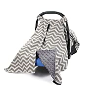 MHJY Premium Carseat Canopy Cover Nursing Cover Breathable Cotton Baby Car Canopy | Infant Car Seat Canopy Nursing Carseat Cover for Boy Girl Perfect Baby Shower Gift for Breastfeeding Moms