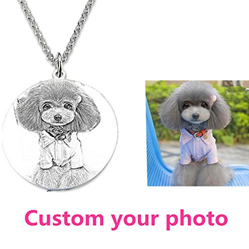 Personalized Custom Photo Necklace Siver Engraved Heart Necklace Dog Tag Necklace Pendan Couple jewelry Valentine's Day present(Siver Sketch engraving 20)