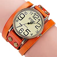 Hunputa Luxury Brand Vintage Cow Leather Bracelet Watch Men Women Wristwatch Ladies Dress Quartz Watch (Orange)