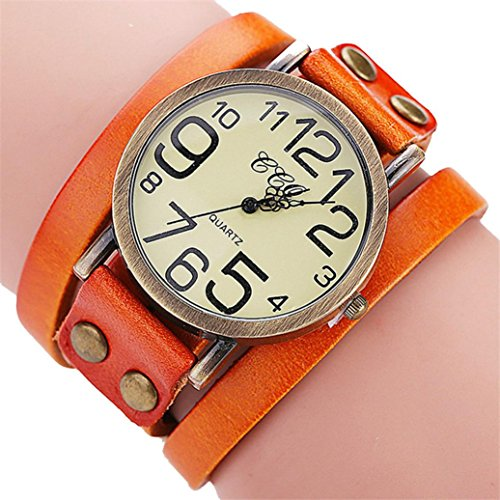 Hunputa Luxury Brand Vintage Cow Leather Bracelet Watch Men Women Wristwatch Ladies Dress Quartz Watch (Orange)