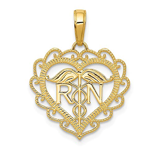14k Yellow Gold Caduceus Angel Nursing Rn Registered Nurse Heart Pendant Charm Necklace Career Professional Medical Fine Jewelry Gifts For Women For Her Angel Sterling Silver Keychain
