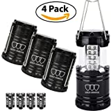 LED Camping Lantern - 4Pack LED Lantern - Gold Armour Camping Lantern - Camping Equipment Camping Gear Camping Lights for Hiking, Emergency, Hurricanes, Outages, Storms, Camping Lanterns (Black)