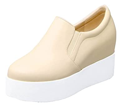 69133824ea21d Aisun Women's Comfort Round Toe Slip On Elevator High Heeled Platform  Loafers Wedge Sneakers Shoes