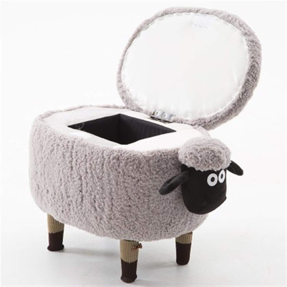 YRW ONDER Kind Sofa Aufbewahrungshocker Kreative Massivholz Hocker schöne Schwein Schuhe Hocker Sofa Fußschemel (Farbe : Grey xiao w Storage)
