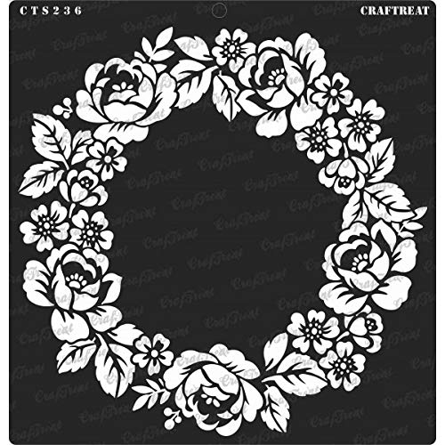 CrafTreat Stencil - Rose Wreath Reusable Painting Template for Journal, Home Decor, Crafting, DIY Albums, Scrapbook, Decoration and Printing on Paper, Floor, Wall, Tile, Fabric, Wood 12x12Inches ()