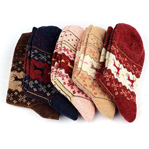 DEELIN Adultos Mujeres Hombres Vintage Lindo Navidad Alces Copos De Nieve Calcetines: Amazon.es: Ropa y accesorios