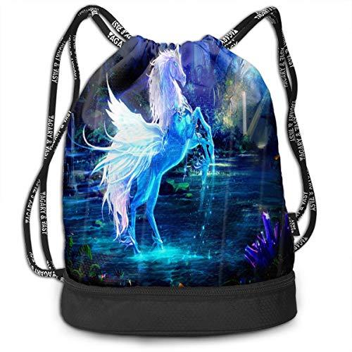 drawstring bag magic unicorns blue