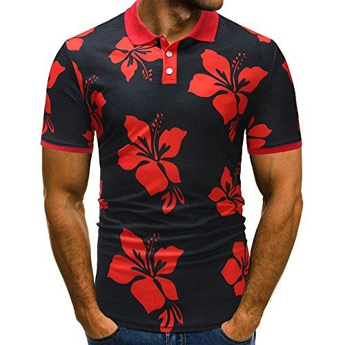 (Pongfunsy Men's T-Shirt, Mens Flower Button Down Short Sleeve Casual Hawaiian Shirt Summer Print Half Cardigans Tops (M, Red))
