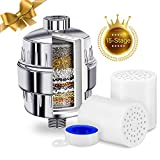 15-Stage Universal Shower Filter Kit – with 2 Water Filter Cartridges – Reduce Hair Loss, Dandruff, and Dry Itchy Skin – Removes Chlorine, Heavy Metals, Fluoride and Bacteria