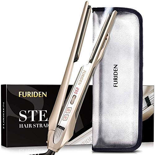 FURIDEN Steam Flat Iron Hair Straightener, Professional Hair Straightener with Ceramic Plates, 1 Inch Flat Iron for All Hair Types, Champagne gold