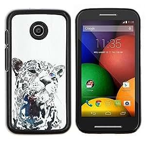 LECELL--Funda protectora / Cubierta / Piel For Motorola Moto E -- leopardo negro de animales grandes barbas del gato --
