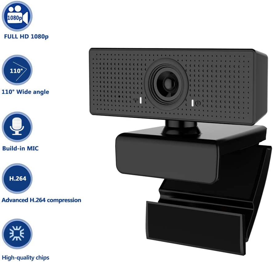 HD Webcam,1080P Webcam with Microphone,Computer Camera with 110-Degree Wide View Angle Live Plug & Play Streaming USB Webcam for Desktop Laptop Video Calling, Conferencing, Gaming
