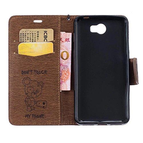 YAJIE-Carcasa Funda Para Huawei Y5 II / Y5 2 / Y6 II Compact, [Oso de dibujos animados en relieve de la serie] Series Funda protectora de cuero de la PU Flip con cordón / Ranura para tarjeta / Soporte Brown
