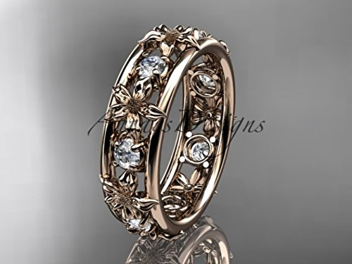 14kt rose gold diamond leaf wedding ring,engagement ring, wedding band ADLR160B nature inspired jewelry ()