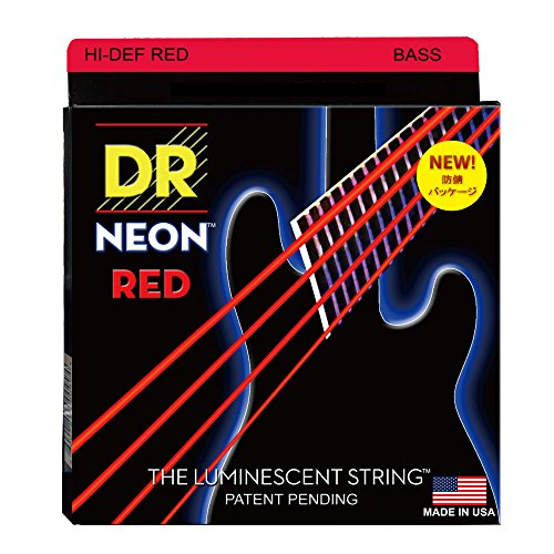 DR Strings Hi-Def NEON Red Coated Medium 4-String (45-105) Bass Guitar Strings (Strings Bass Red)