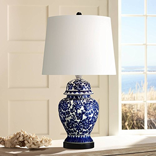 Asian Table Lamp Temple Porcelain Jar Blue Floral White Drum Shade for Living Room Family Bedroom Bedside Nightstand - Regency Hill ()