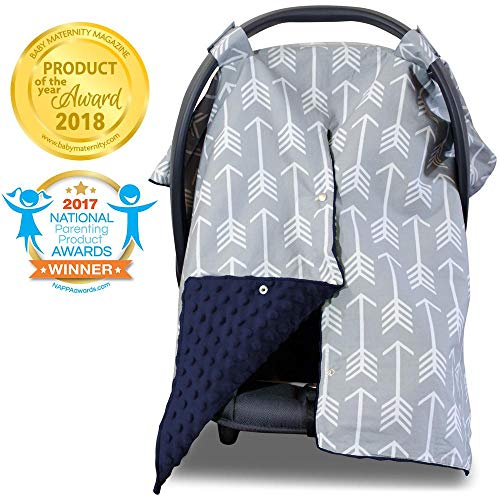 2 in 1 Carseat Canopy and Nursing Cover Up with Peekaboo Opening | Large Infant Car Seat Canopy for Boy or Girl | Best Baby Shower Gift for Breastfeeding Moms | Arrow Pattern with Navy Blue Minky (Infant Car Seat Covers For Boys)